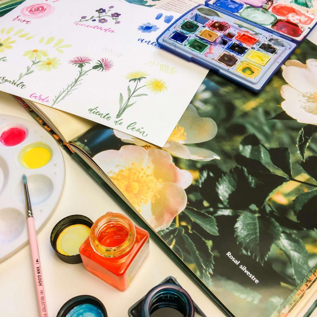 4 flores acuarela botánica